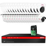 BTG 32CH 4K NVR 32 Cameras Security Camera System Built-in PoE with Outdoor 5MP Surveillance IP PoE 16 Bullet + 16 Dome Cameras HD 2592 x 1944 IR CCTV System H265 4TB HDD