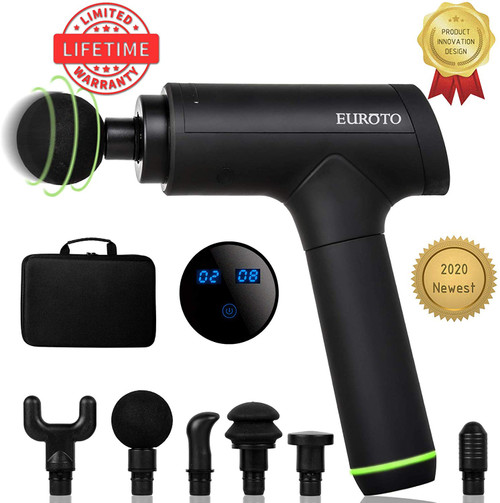 Massage Gun [2020 Newest] Deep Tissue Percussion Muscle Handheld One-Click Electric Body Fascia Massager Sports Drill Portable Super Quiet Brushless Motor with 6 Massage Heads and 6 Adjustable Speed