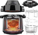 EUROTO [Newest 2021] Air Fryer Pressure Cooker 6.5 QT 28 in 1 Multi-function, Two Easy-Switch Lids, One-Touch Preset, Grilled, Fried, Steamed, High/Low Pressure, Slow cook, Toolless Removable Air Fryer Top Lip Plate easy to detach and clean