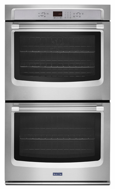 """Maytag 27"""" Stainless Steel Double Electric Wall Oven with True Convection MEW9627DS"""