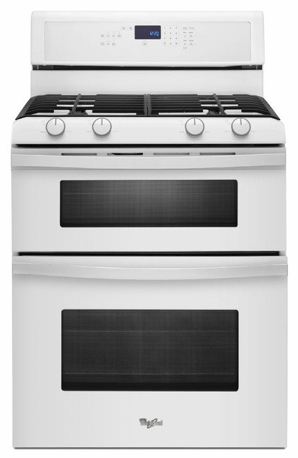 Whirlpool Freestanding Self Cleaning Double Oven White Gas Range WGG555S0BW