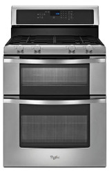 Whirlpool 6.0 CF Freestanding Self Cleaning Double Oven Stainless Steel Gas Range WGG555S0BS