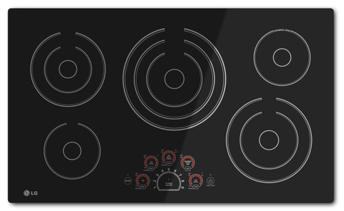 """LG 36"""" Black Electric Smoothtop Cooktop with 5 Steady Heat Radiant Elements LCE3610SB"""