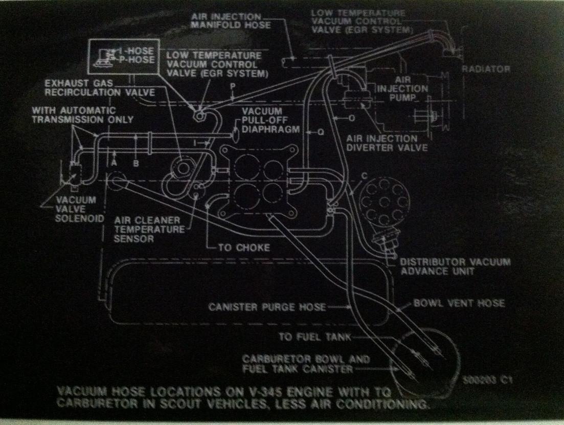 Engine Compartment Vacuum Hose Diagram For Scout Ii  Ssii