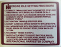 Engine idle setting procedure decal for 1979-80 Scout II, SSII, Traveler and Terra