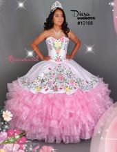 Multi Color Flowers Quinceanera Dress #10168JES