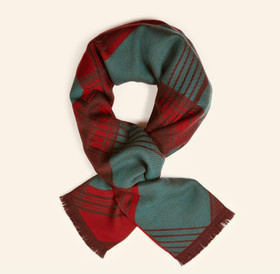 Tartan cotton-linen blend frayed-edged logo scarf  featuring frayed edges, a fine knit, a multi-coloured pattern
