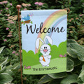 Easter garden flag with Easter bunny, rainbow, singing bird, Easter eggs, personalized just for you.