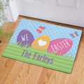 Personalized Easter doormat that says We Love Easter in pastel colors.