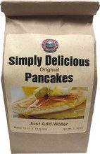 "Our Simply Delicious Original Pancakes are wonderfully delightful! Light and fluffy these are sure to be a hit!  This mix is wonderful with any of our handcrafted syrups. Also, be sure to try out the waffle recipe. The mix yields 12-14 4"" pancakes."