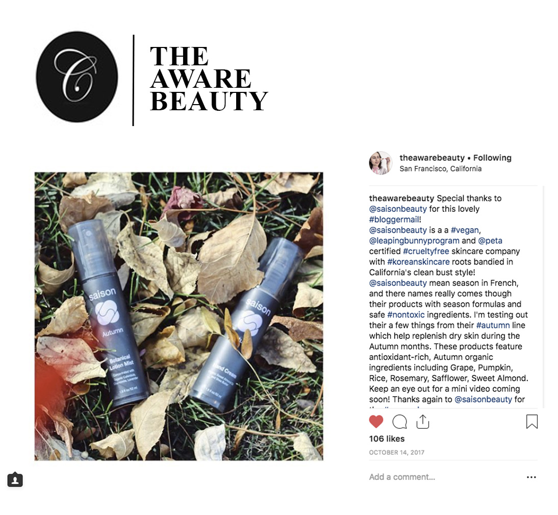 The Aware Beauty Fall Introduction With Saison Organic Skincare