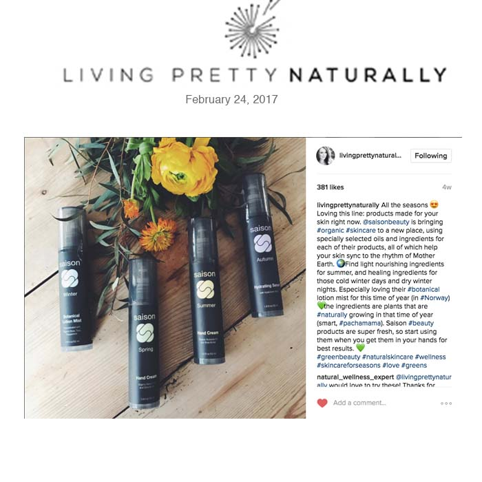 Saison Organic Seasonal Beauty in Living Pretty Naturally