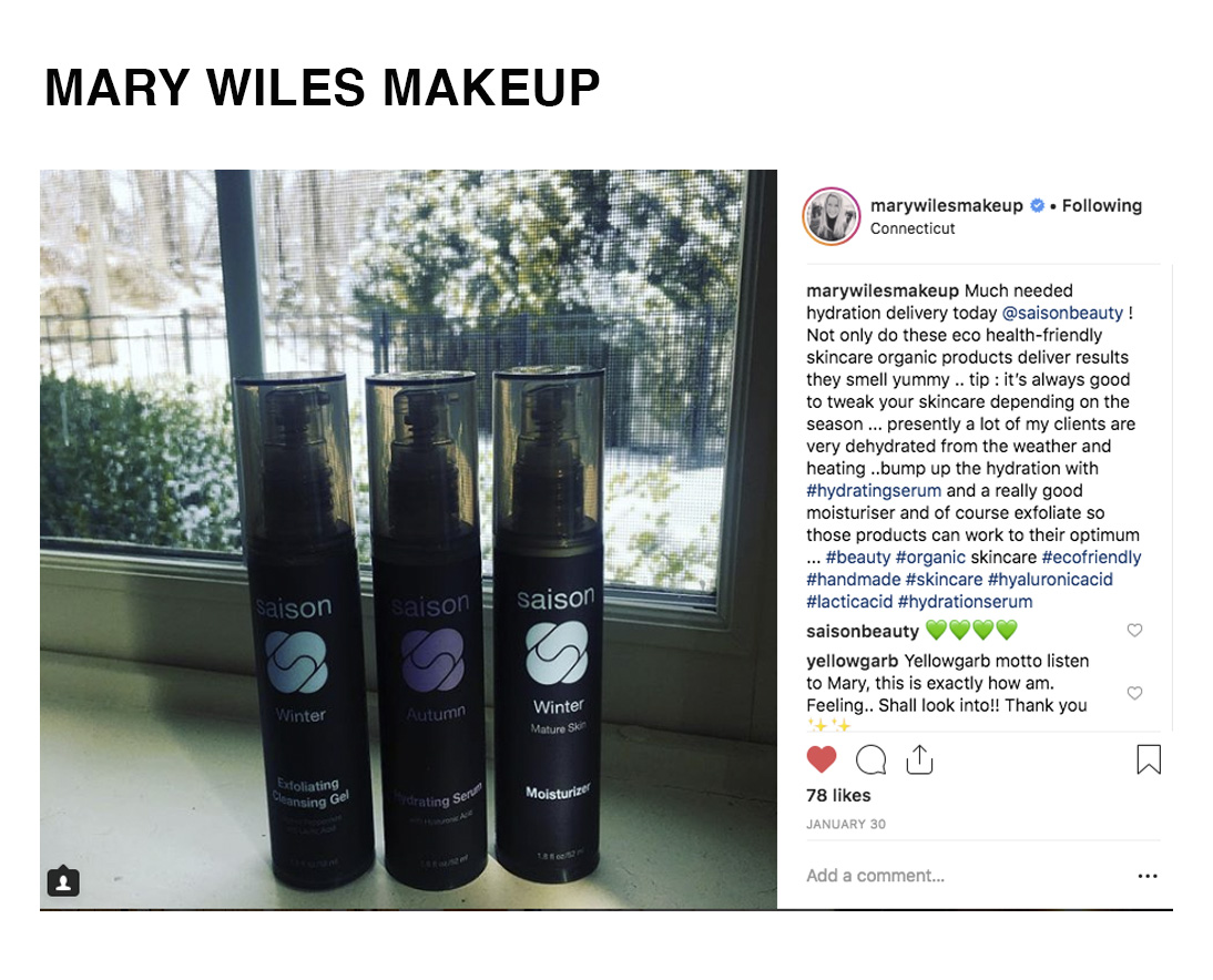 Mary Wiles Makeup Hydration Delivery Using Saison Organic Skincare