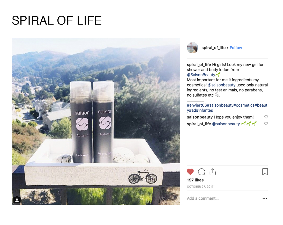 Spiral of Life Using Saison Organic Body Wash and Body Lotion