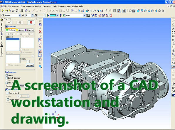 A screenshot of a CAD workstation and drawing