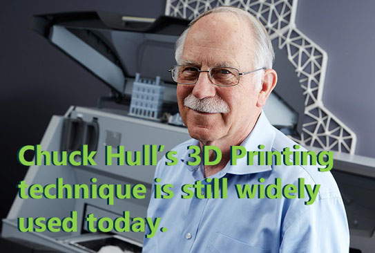 Chuck Hull's 3D Printing technique is widely used in machines to this day