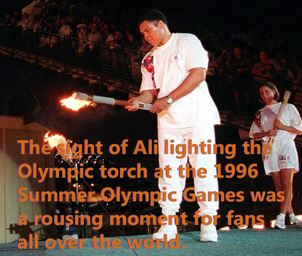 Muhammad Ali lights the Olympic Torch at the 1996 Summer Olympic Games