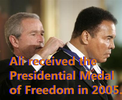 Muhammad Ali receiving the Presidential Medal of Freedom