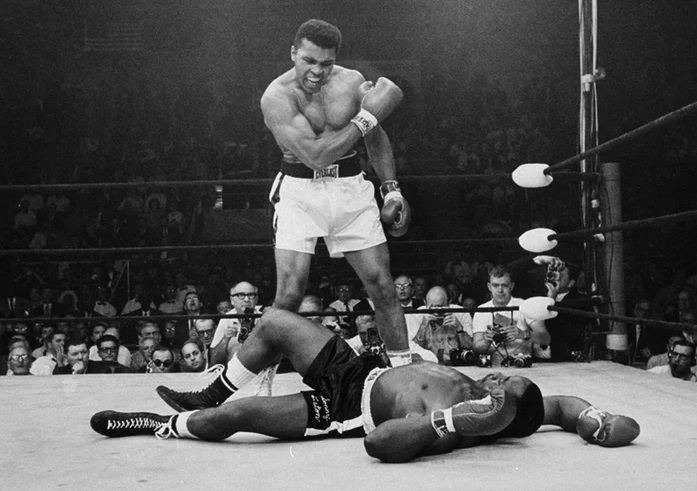 Ali standing over Liston at the conclusion of their 2nd fight is one of the most famous pictures in history