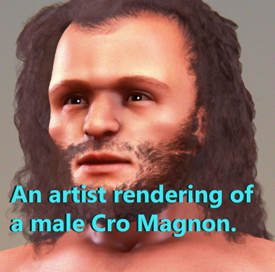 An artist rendering of a male Cro-Magnon