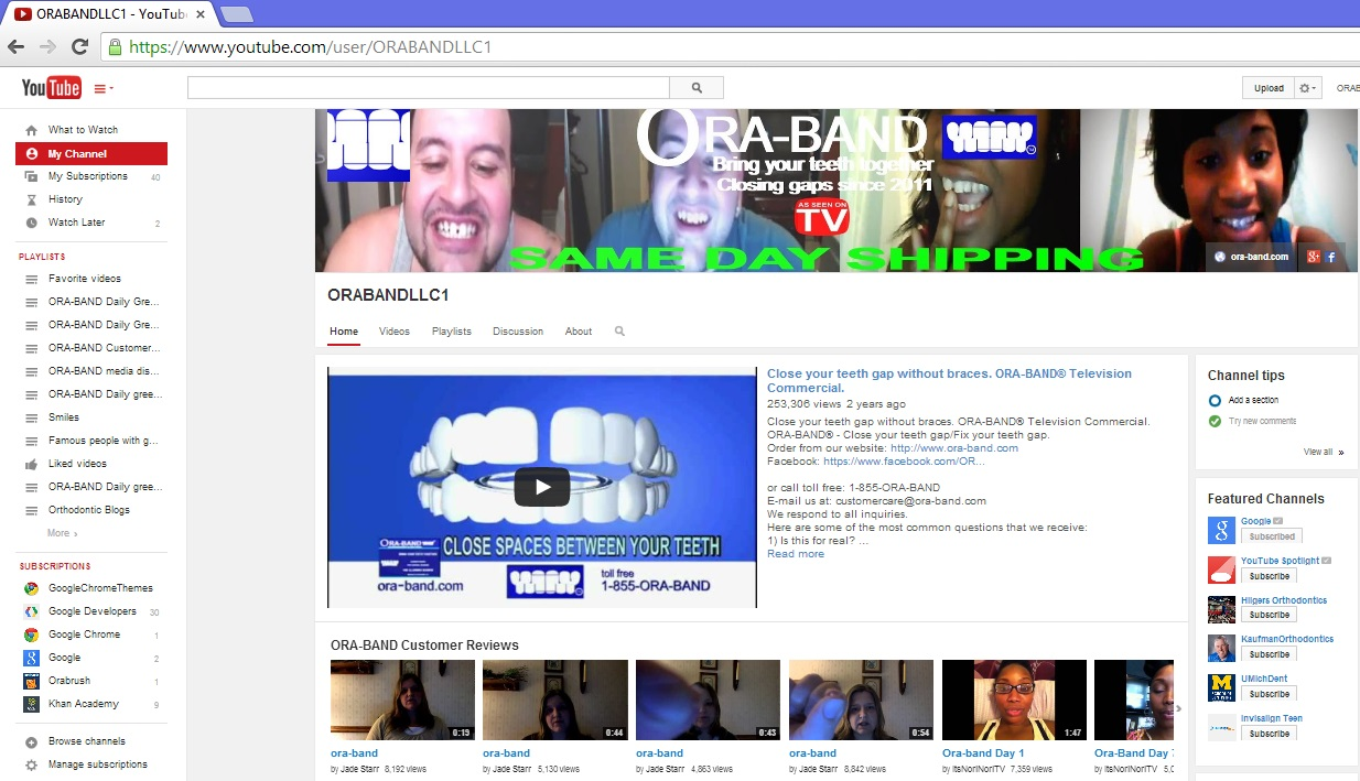 ORA-BAND® ON YOUTUBE