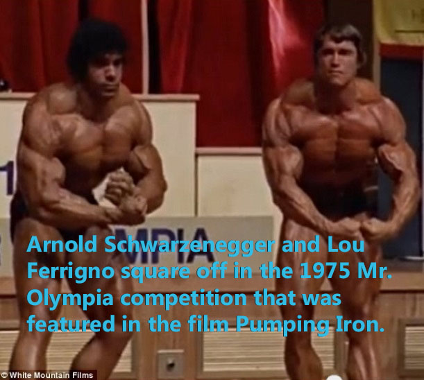 Arnold Schwarzenegger and Lou Ferrigno square off in the 1975 Mr. Olympia competition.