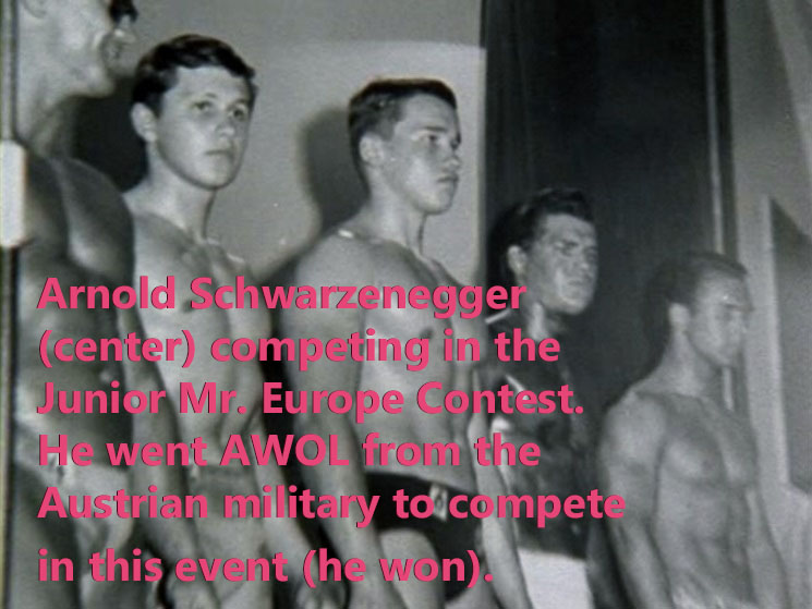 Schwarzenegger competing in the Junior Mr. Europe contest in 1965.