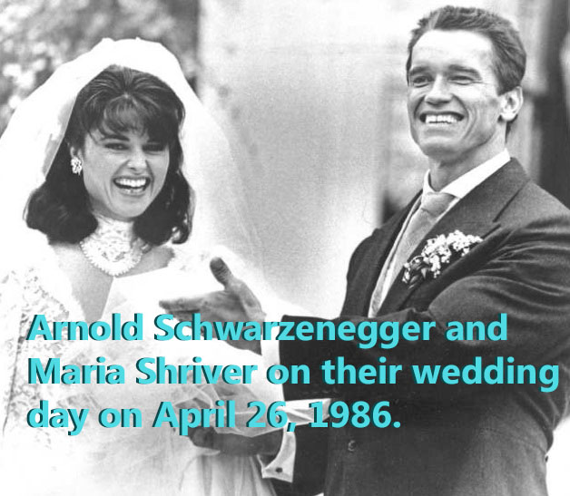 Arnold Schwarznegger and Maria Shriver get on their wedding day.