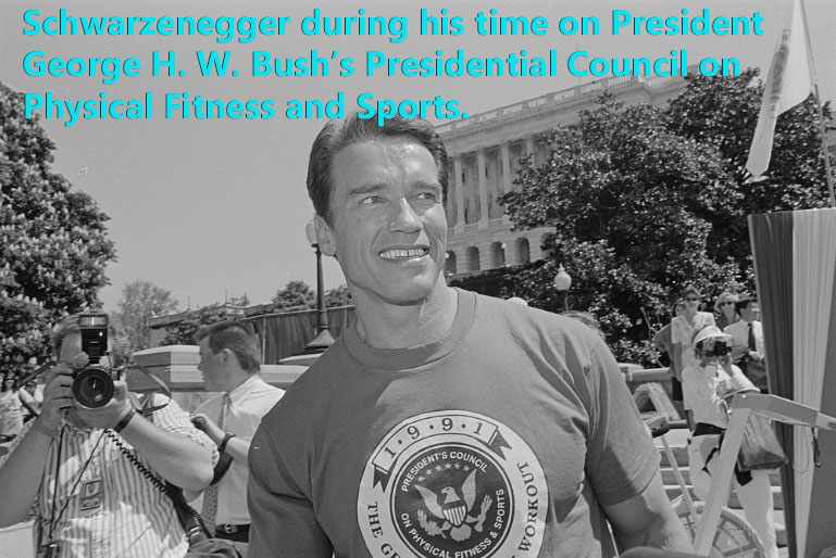 Schwarzenegger during his time on the President's Council on Sports and Physical Fitness