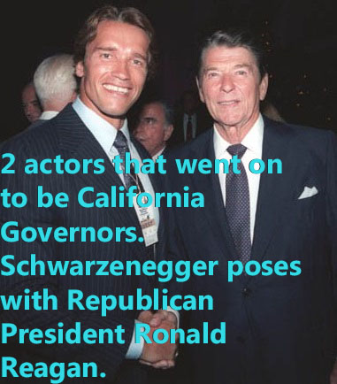Arnold Schwarzenegger poses with President Ronald Reagan
