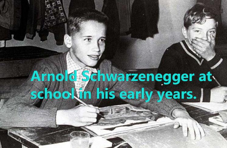 Arnold Schwarzenegger as a young boy in grade school