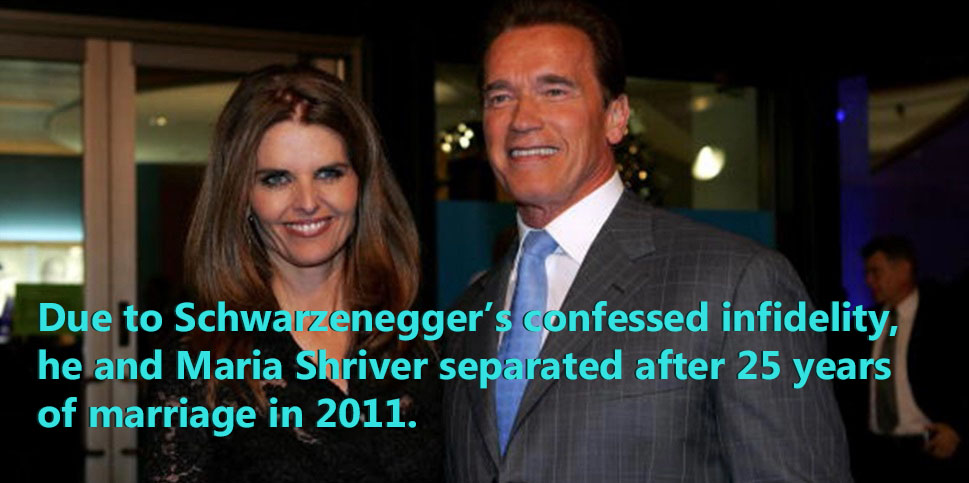 Arnold's 25 year marriage split up due to his infidelity