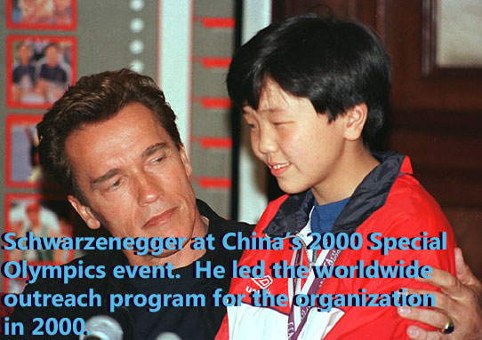 Spending time with a child at China's 2000 Special Olympics Event