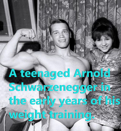 Young Arnold Schwarzenegger in the early years of his weight training.