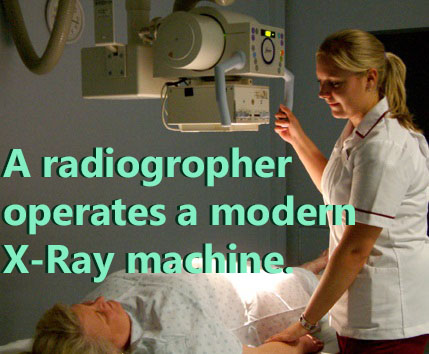 A radiographer operates an X-Ray machine