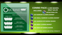 Combo Pack - 1,000 BANDS *Includes DVD, 100 Extra Strength Narrow Closing Bands, 100 Extra Strength Small Narrow Closing Bands, 300 Narrow Retaining Bands, 200 Extra Strength Wide Closing Bands and 300 Wide Retaining Bands