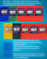 1,000 Band Combo Pack (Includes 100 Extra Strength Narrow Closing Bands, 100 Small Extra Strength Narrow Closing Bands, 300 Narrow Retaining Bands,  200 Extra Strength Wide Closing Bands, 300 Wide Retaining Bands and Clear Package)