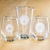 Etched stemless wine glass, Mad RIver Glen