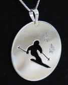 Sterling Silver Skier Pendant by Muddy Paws Designs (1 1/8 inch)