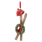 Skis with Wreath Ornament