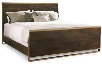 Metal & Wood bed, Dark Oak Finish