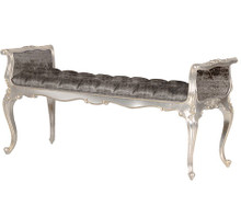 Tufted Provincial Bench, Chateau Silver with grey Velvet