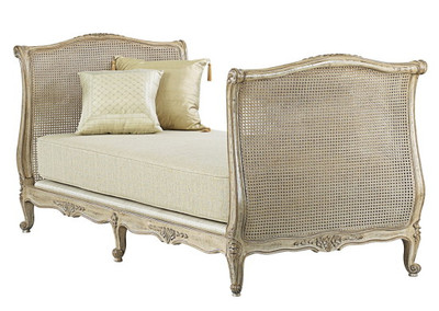 French Daybed Ancient Oak Finish Silver