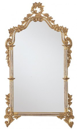 Mirror frame with plain mirror Height: 53″ x Width: 30″ Finish Shown: Gold metal leaf Regular List Price: $2,158.00 Closeout Price: $1293.00