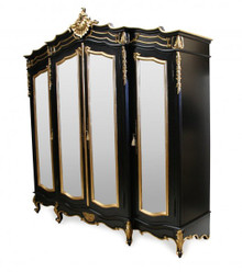French Carved Wardrobe, 4 Door Black & Gold Gilt