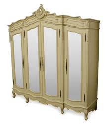 French Carved Wardrobe, 4 Door Ivory
