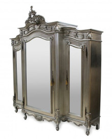 French Carved Wardrobe, 3 Door Silver