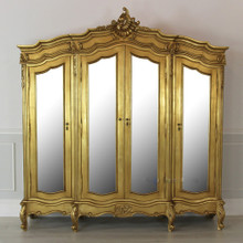 French Carved Wardrobe, 4 Door Gold