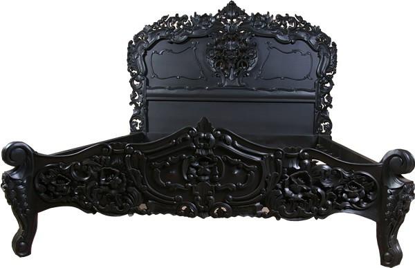 Rococo Bed Black Lacquer Finish Baroque Bedroom Furniture