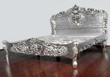 Rococo Carved Bed, Silver